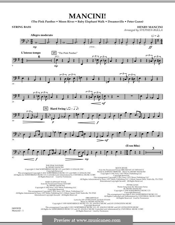 Mancini!: String Bass part by Henry Mancini