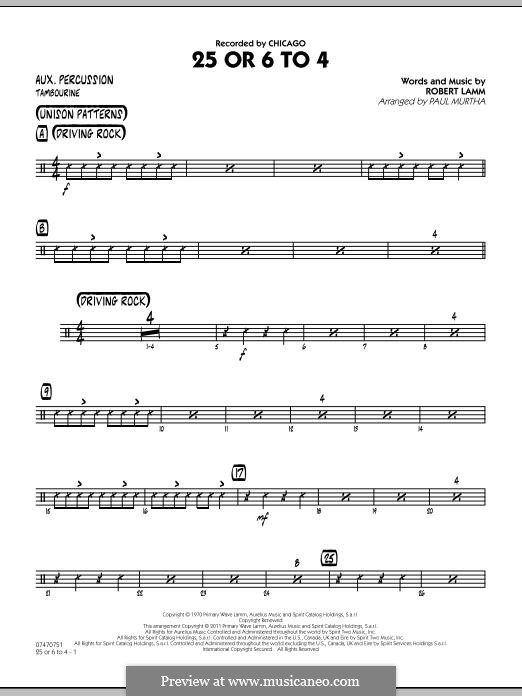 25 Or 6 To 4 (Jazz Ensemble version): Aux Percussion part by Robert Lamm