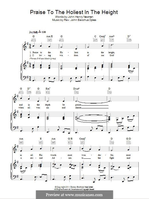 Praise to the Holiest in the Heights: For voice and piano (or guitar) by John Bacchus Dykes