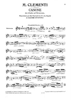 Mugellini Edition: Etude No.33, for Two Clarinets and Two Bassoon – Clarinet II Part by Muzio Clementi
