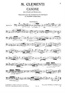 Mugellini Edition: Etude No.33, for Two Clarinets and Two Bassoon – Bassoon II Part by Muzio Clementi