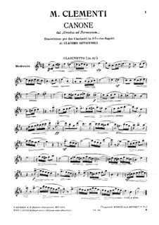 Mugellini Edition: Etude No.33, for Two Clarinets and Two Bassoon – Clarinet I Part by Muzio Clementi