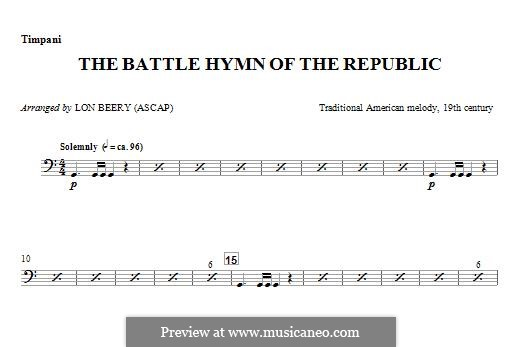 Battle Hymn of the Republic: For winds - Timpani part by William Steffe