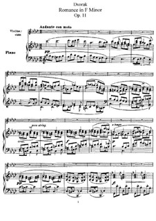 Romance in F Minor, B.39 Op.11: For violin and piano by Antonín Dvořák