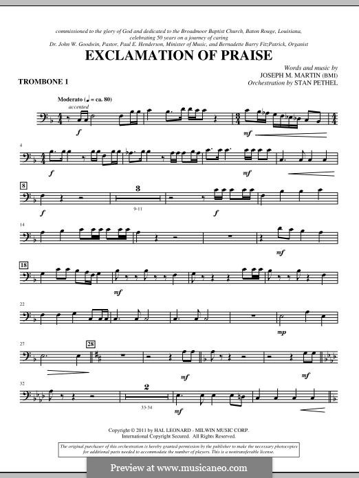 Exclamation of Praise: Trombone 1 part by Joseph M. Martin