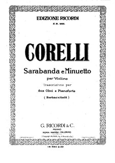 Sarabande and Minuet: Oboe I part by Arcangelo Corelli