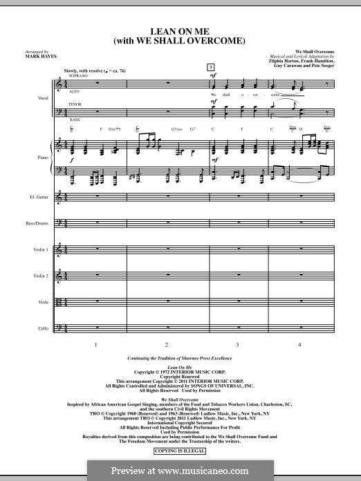 Lean On Me (with We Shall Overcome): Full score by Frank Hamilton, Guy Carawan, Peter Seeger, Zilphia Horton