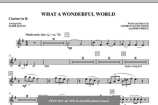 What a Wonderful World, for Orchestra (arr. Mark Hayes): Bb Clarinet 1 part by Bob Thiele, George David Weiss