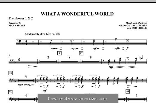 What a Wonderful World, for Orchestra (arr. Mark Hayes): Trombone 1 & 2 part by Bob Thiele, George David Weiss