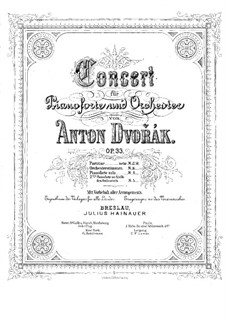 Concerto for Piano and Orchestra in G Minor, B.63 Op.33: Version for two pianos four hands – piano I part by Antonín Dvořák