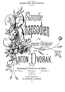 Rhapsody No.3 in A Flat Major: For piano four hands by Antonín Dvořák