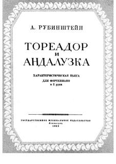 Bal costumé, Op.103: No.7 Toréador et Espagnole, for Piano by Anton Rubinstein