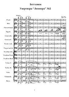 Leonore. Overture No.2 in C Major, Op.72a: Full score by Ludwig van Beethoven