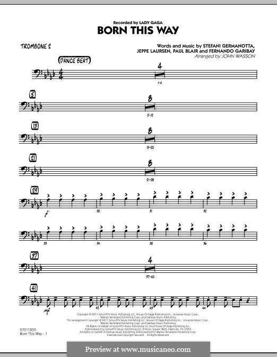 Jazz Ensemble version: Trombone 2 part by Fernando Garibay, Jeppe Laursen, Paul Blair, Stefani Germanotta