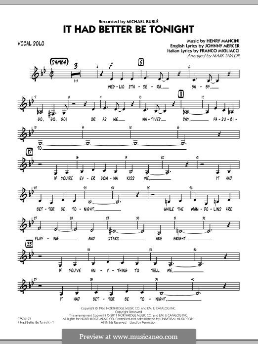 Jazz Ensemble version by Mark Taylor: Vocal Solo part by Henry Mancini