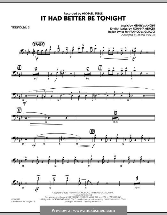 Jazz Ensemble version by Mark Taylor: Trombone 3 part by Henry Mancini