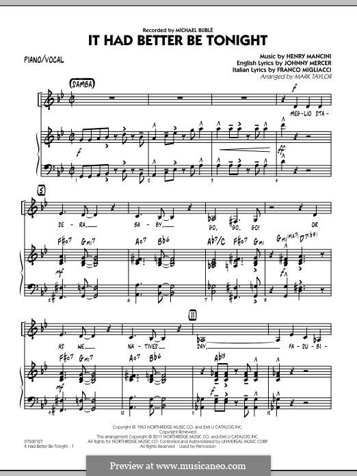 Jazz Ensemble version by Mark Taylor: Piano/Vocal part by Henry Mancini