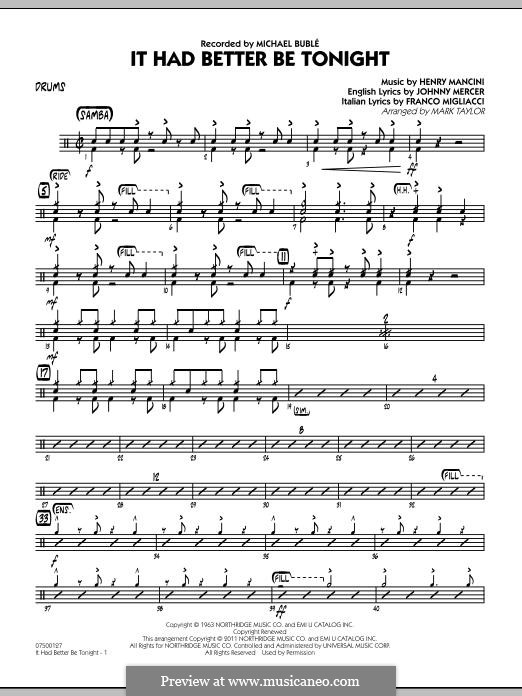 Jazz Ensemble version by Mark Taylor: Drums part by Henry Mancini