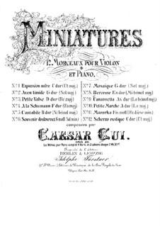 Twelve Miniatures, Op.20: No.8 Berceuse, for violin and piano by César Cui