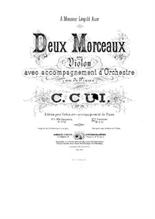 Two Pieces for Violin and Piano, Op.24: No.2 Nocturne – score by César Cui