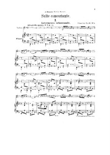 Concert Suite for Violin and Orchestra, Op.25: Version for violin and piano by César Cui