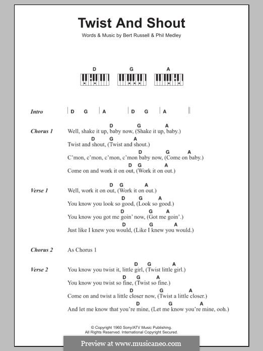 Twist and Shout (The Beatles): For easy piano by Bert Russell, Phil Medley