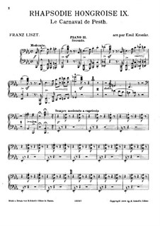 No.9 in E Flat Major, S.244: For two pianos eight hands – piano II part by Franz Liszt