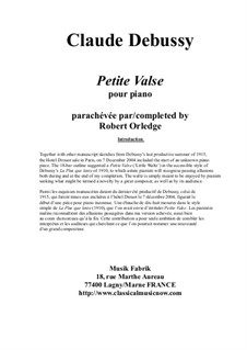 Petite Valse for solo piano: Petite Valse for solo piano by Claude Debussy