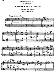 Eighteen Pieces for Piano, TH 151 Op.72: No.6 Mazurka pour danser by Pyotr Tchaikovsky