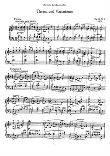 Six Pieces for Piano, TH 133 Op.19: No.6 Theme and Variations by Pyotr Tchaikovsky
