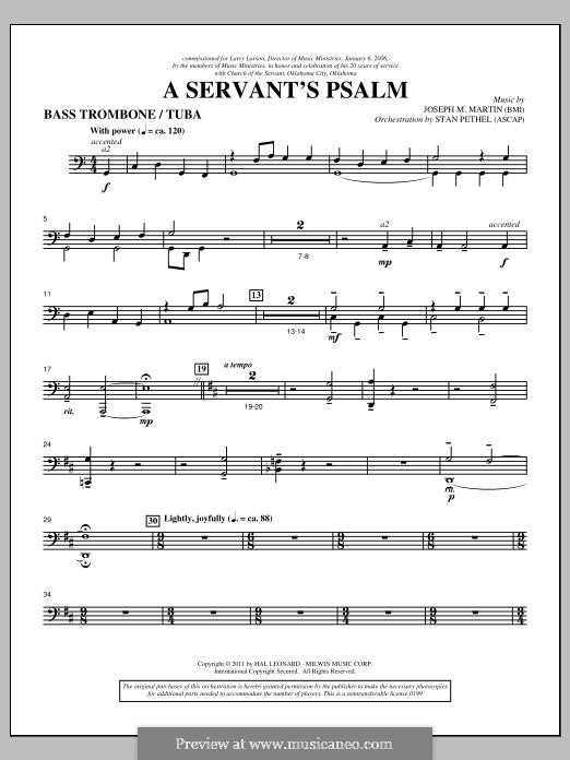 A Servant's Psalm: Bass Trombone/Tuba part by Joseph M. Martin