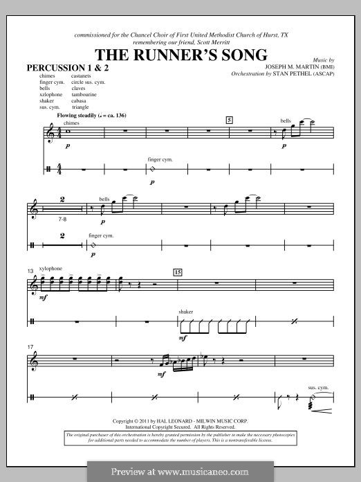 The Runner's Song: Percussion 1 & 2 part by Joseph M. Martin