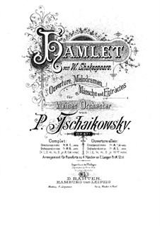 Hamlet, TH 23 Op.67b: For piano four hands by Pyotr Tchaikovsky