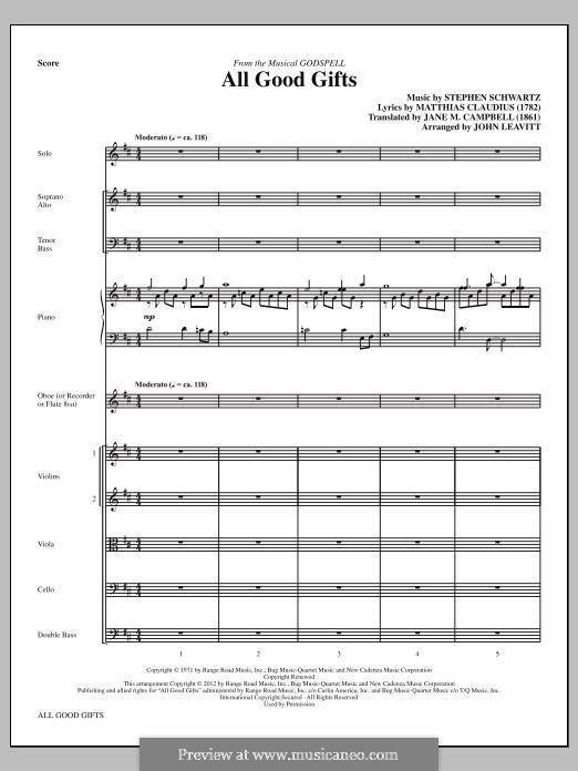 All Good Gifts (from Godspell): Full Score by Stephen Schwartz