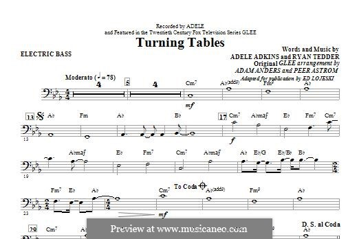 Turning Tables: Electric Bass part by Adele, Ryan B Tedder
