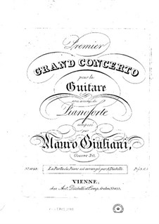 Concerto for Guitar and Orchestra No.1, Op.30: Version for guitar and piano – parts by Mauro Giuliani