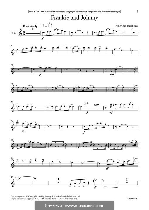 Frankie and Johnny: For flute by folklore