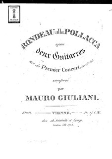 Concerto for Guitar and Orchestra No.1, Op.30: Rondeau alla pollacca. Version for two guitars – parts by Mauro Giuliani