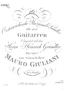 Sixteen Ländler for Two Guitars, Op.16a: Sixteen Ländler for Two Guitars by Mauro Giuliani