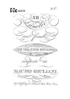 Twelve Ländler for Two Guitars, Op.75: Twelve Ländler for Two Guitars by Mauro Giuliani