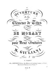 Overture: For two guitars – parts by Wolfgang Amadeus Mozart