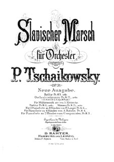 Slavonic March, TH 45 Op.31: For two pianos eight hands – piano I part by Pyotr Tchaikovsky