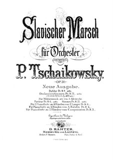 Slavonic March, TH 45 Op.31: For two pianos eight hands – piano II part by Pyotr Tchaikovsky