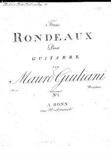 Three Rondos for Guitar, Op.17: Complete set by Mauro Giuliani