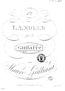 Twelve Ländler for Guitar, Op.44: Twelve Ländler for Guitar by Mauro Giuliani