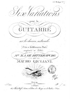 Six Variations on Song 'I bin a Kohlbauern Bub', Op.49: For guitar by Mauro Giuliani