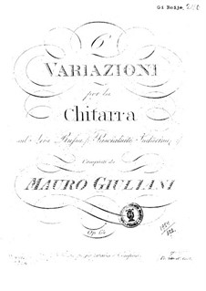 Six Variations on Aria 'Pascialuite Sudarina' for Guitar, Op.64: Six Variations on Aria 'Pascialuite Sudarina' for Guitar by Mauro Giuliani