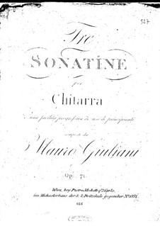 Three Sonatinas for Guitar, Op.71: Complete set by Mauro Giuliani