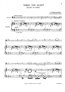 Quand du dors (When You Slept): For cello and piano by Halfdan Kjerulf