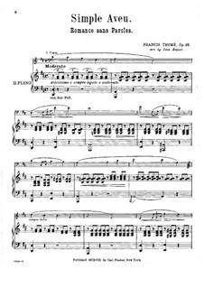 Simple Confession, Op.25: For two pianos four hands – piano II part by Francis Thomé